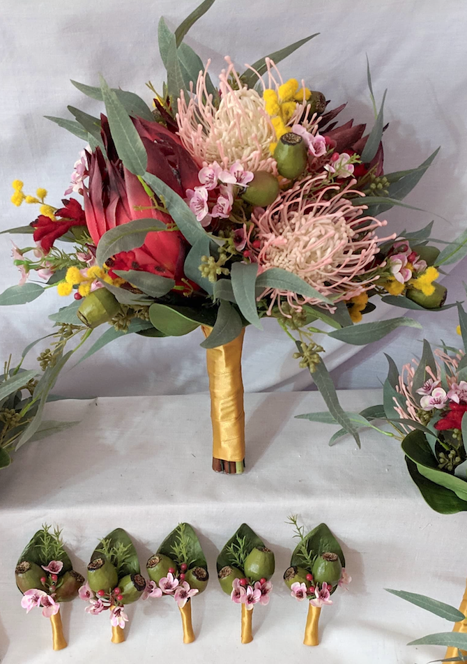 ANDREA ~ Native protea, leuco, wattle, wax flowers, kangaroo paw, gum nuts and euc foliage Can be made in many colour variations